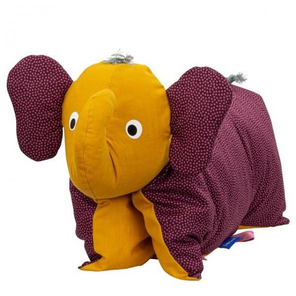 Kuscheltier / Kissen Elefant Brombeer-Gold