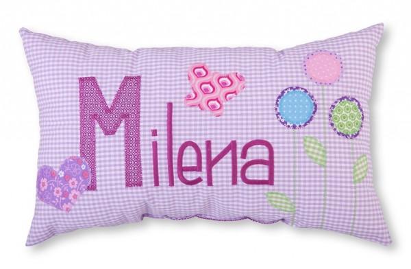 Namenskissen / Blumen & Schmetterling (Modell: Milena)