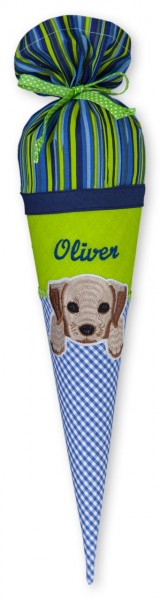 Geschwister-Schultüte mit oder ohne Namen / Hund (Modell: Oliver)