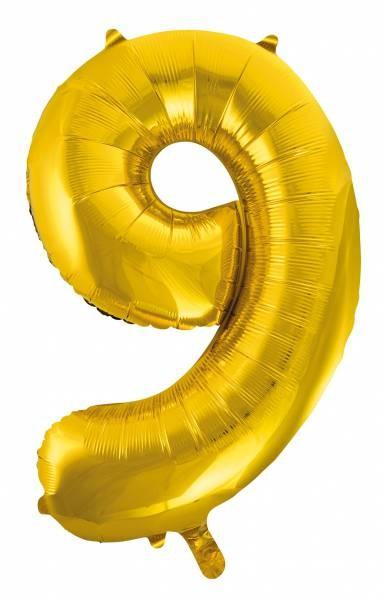 "Folienballon Zahl ""9"" ca.100 cm, Gold"